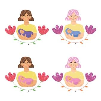 赤ちゃんの息子や娘を腕に抱いている母親。母と生まれたばかりの息子または娘。