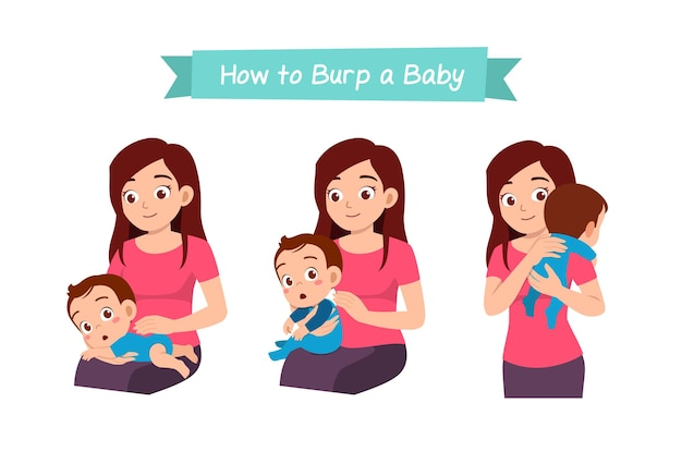 Mother holding baby and waiting to burp
