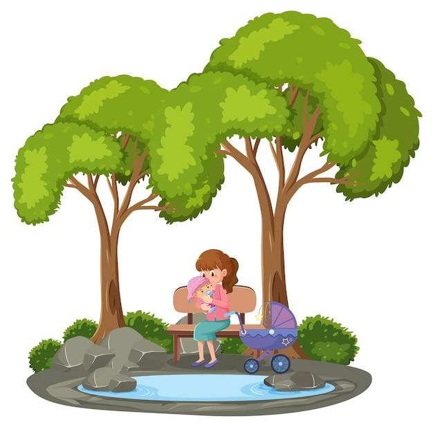 공원에서 그녀의 아기를 잡고 어머니