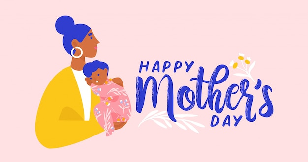 Mother holding her child. happy mother's day postcard, banner, newsletter. flat   illustration.