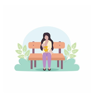 母親は生まれたばかりの赤ちゃんを腕に抱き、自然と葉を背景にベンチで授乳します。母乳育児の概念。母と子。漫画のベクトルイラスト