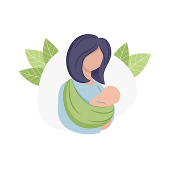 A mother holds a baby in a kangaroo carrier sling. maternity, pregnancy, childbirth. children's products for mothers and children. logo on a white background, isolated for the internet