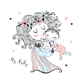 Mother holds her baby in her arms. mother's day. vector.