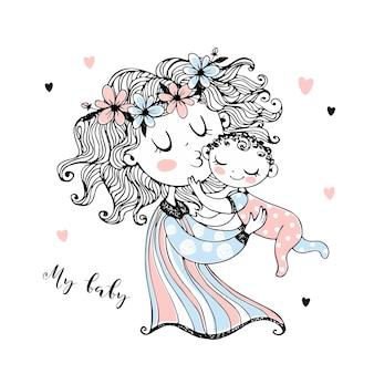 어머니는 그녀의 팔에 그녀의 아기를 보유 하고있다. 어머니의 날. 벡터.