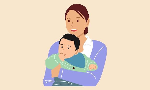 母は子供を抱きしめます。幸せな母の日のコンセプト Premiumベクター