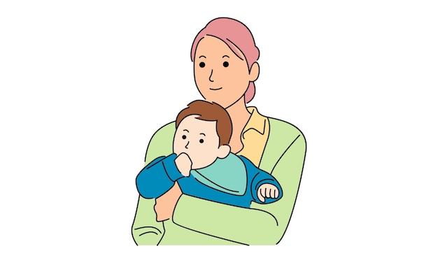 Мать обнимает своего ребенка. счастливого дня матери