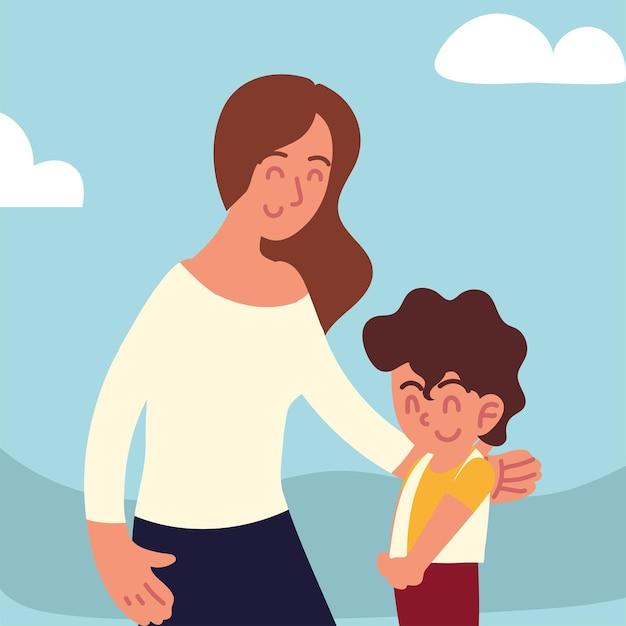 Мать обнимает мальчика