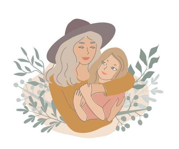 Мать обнимает дочь векторные иллюстрации