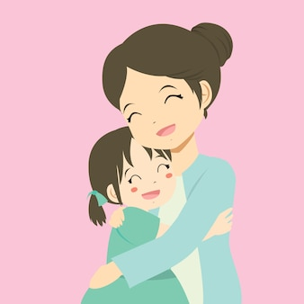 A mother hugging her daughter