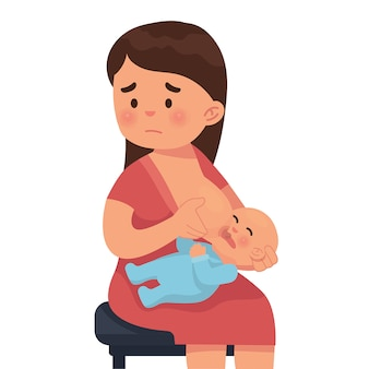 Mother is sad because she can't breastfeed her baby