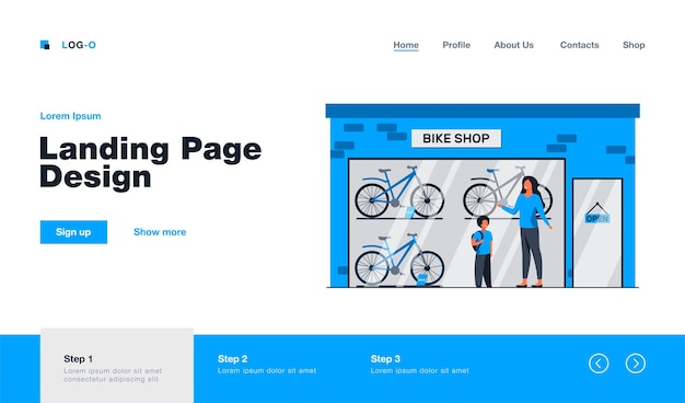 Mother and kid choosing bicycle in bike shop landing page in flat style