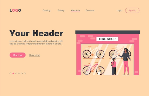 Mother and kid choosing bicycle in bike shop. store, son, parent flat  landing page. transportation and active lifestyle concept for banner, website design or landing web page