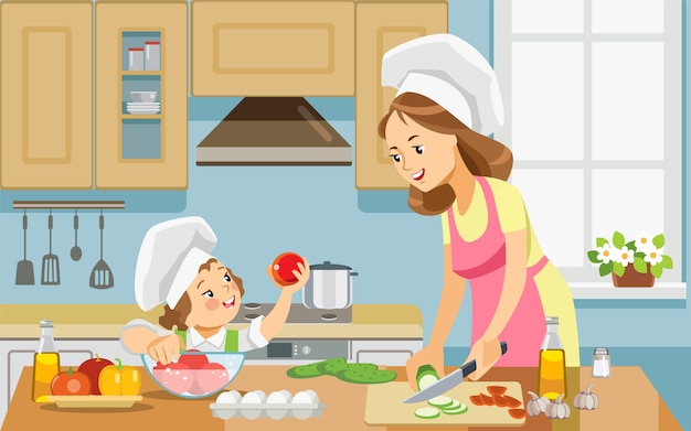 Mother and kid girl preparing healthy food at home together.