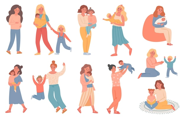 Mother and kid. pregnant woman, mom play with son, hold baby, hug daughter and read book. happy mothers day. single parent family vector set. illustration mother pregnant, woman with baby