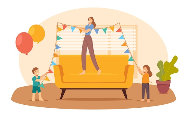 Mother and kids hang garland for home party. happy family decorate room for birthday or holiday. mom and children joy