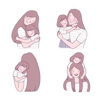 그녀의 아이 일러스트 세트를 사랑하는 어머니