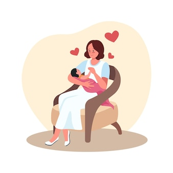 Mother and newborn in chair. parent with baby. happy mom with infant in arms flat characters on cartoon. motherhood and childcare colourful scene