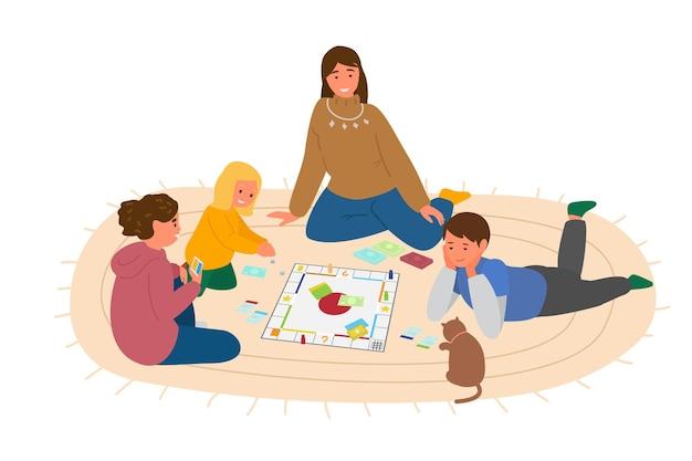 床で子供たちとボードゲームをしている母または教師。