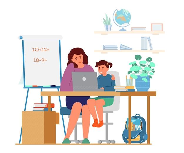 집에서 소녀를 가르치는 어머니 또는 교사