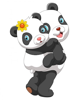 Mother panda carrying cute baby panda
