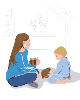 Mother peacefully watching her kid play with a little kitten while drinking a cup of coffee