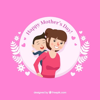 Mother playing with her son mother's day background