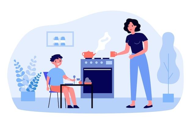 작은 아들을 위해 아침 식사를 준비하는 어머니. 건강에 좋은 음식, 차, 엄마 그림. 배너, 웹 사이트 또는 방문 웹 페이지에 대한 부모 및 영양 개념