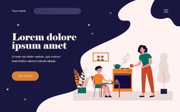 Mother preparing breakfast for little son. healthy food, tea, mom flat vector illustration. parenthood and nutrition concept for banner, website design or landing web page