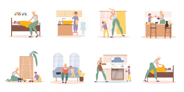 Mother preschool son daily activities scene set