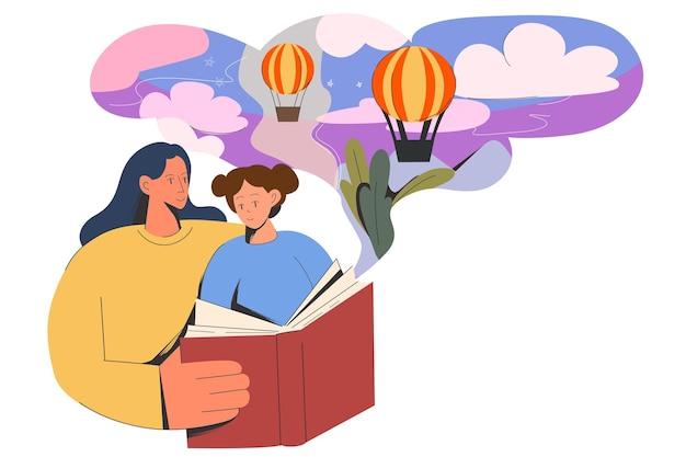 어머니는 작은 딸에게 재미있는 책을 읽어주었다