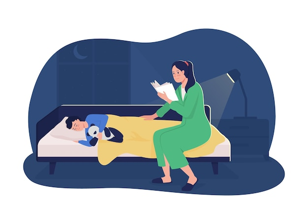 Mother read story 2d vector isolated illustration. mother reading book for sleeping kid. story telling for baby. happy family flat characters on cartoon background. bedtime routine colourful scene