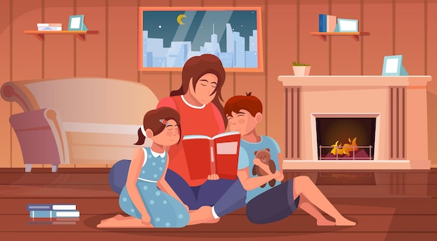 Mother reading book to her children in home interior flat background illustration