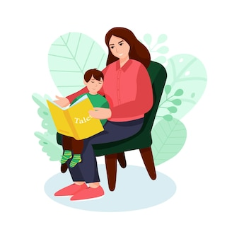 Mother reading book to her little sun. cute vector illustration