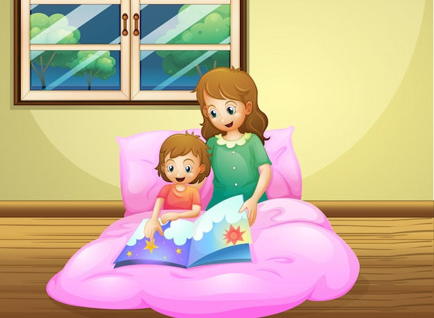Mother reading with her daughter