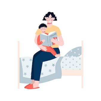 Mother reads a book her son mom and son reading fairytale together