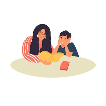 A mother reads a book to her son. mother and son are doing their homework.  vector illustration