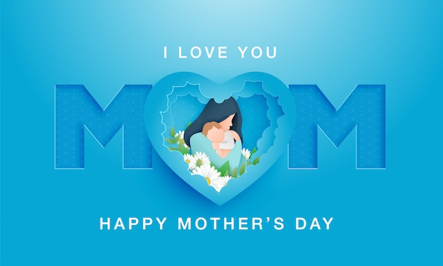 Mother's day abstract cuted shape on blue backdrop. woman and baby, congratulation text.