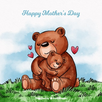 Mother's day background with cute bears in watercolor style