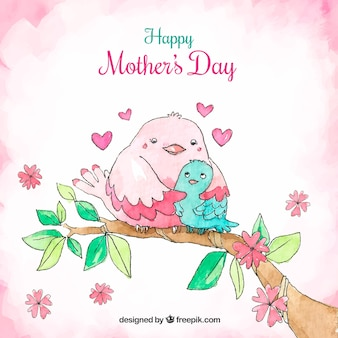 Mother's day background with cute birds