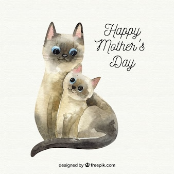 Mother's day background with cute cats in watercolor style