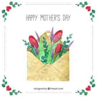 День матери фон с конвертом и цветами в стиле акварель
