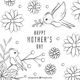 Mother's day background with flowers in hand drawn style