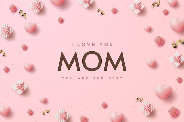День матери фон с подарочными коробками и розовыми воздушными шарами, разбросанными вокруг.
