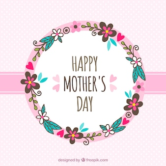 Mother's day background with hand-drawn floral wreath