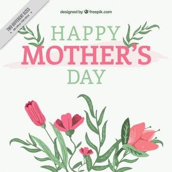 손으로 그린 꽃과 어머니의 날 배경