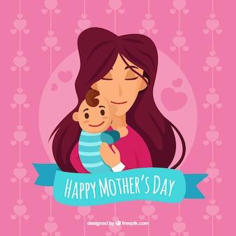 День матери фоне счастливой семьи в ручном стиле