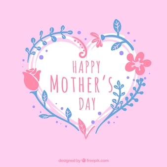 Mother's day background with heart and blue and pink vegetation