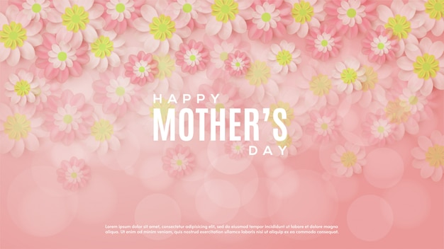 Mother's day background with illustrations of flowers increasingly fades transparent