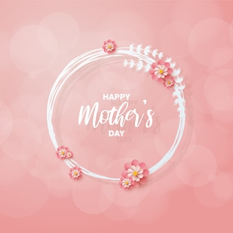 Mother's day background with illustrations of pink flowers encircling the writing