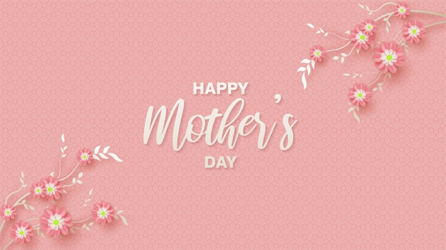 Mother's day background with illustrations of pink flowers on the right and left